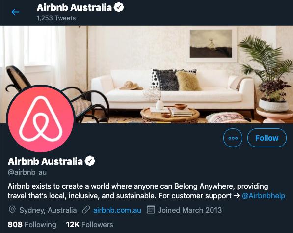 airbnb australia twitter profile
