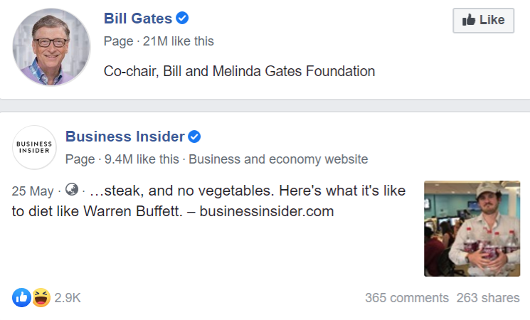 Examples of verified Facebook pages with blue checkmarks for Bill Gates and Business Insider