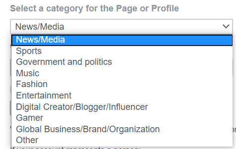 Page category dropdown menu for Facebook verification