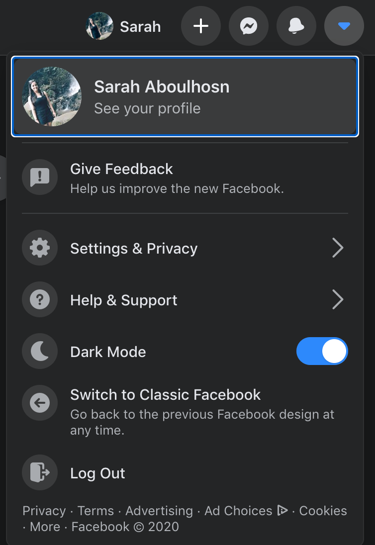 Screenshot of Facebook's Dark Mode setting.