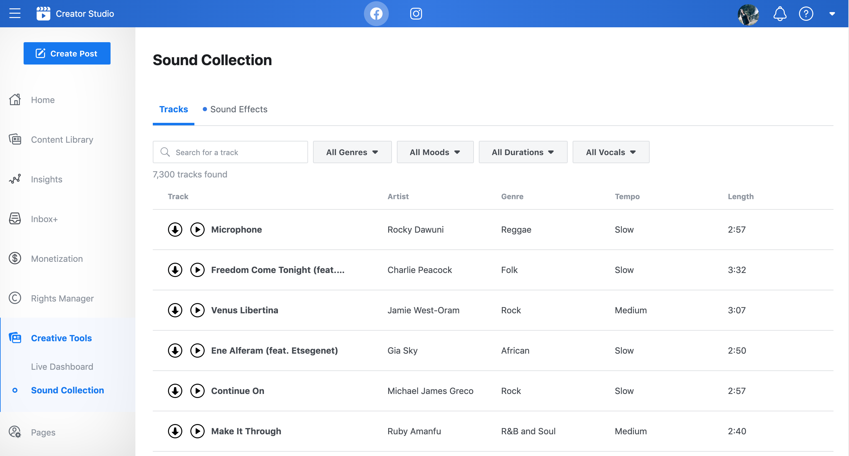 Screenshot of the royalty-free music collection within Facebook Creator Studio.