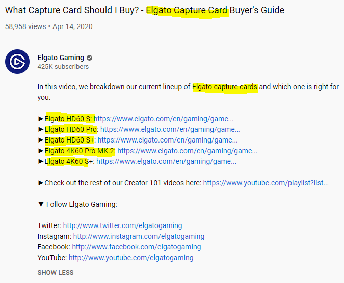 Elgato video description SEO