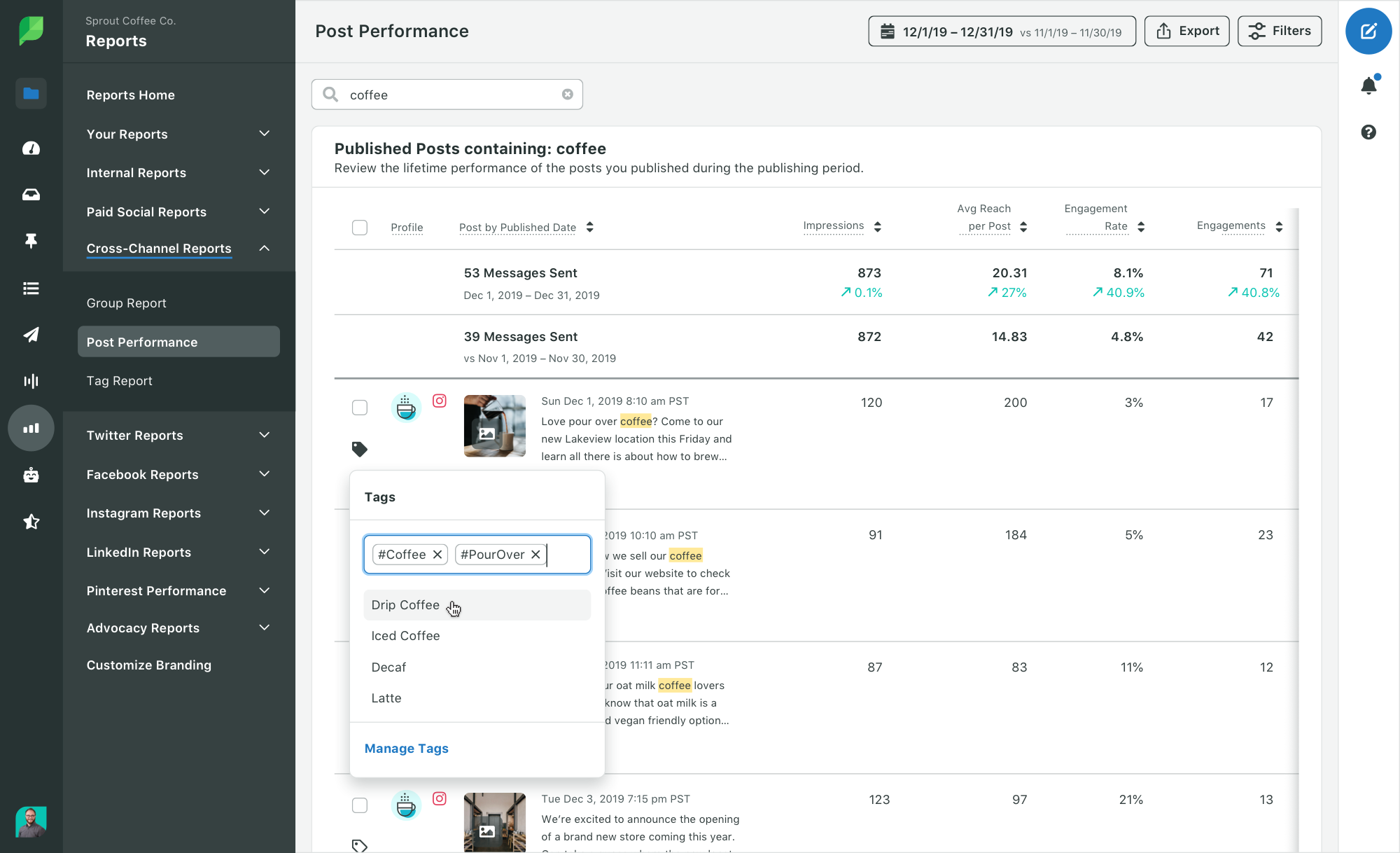 Leverage Sprout Social's Report Builder to create 360° campaign reports by stitching together widgets from Profile, Post and Paid Performance reports.