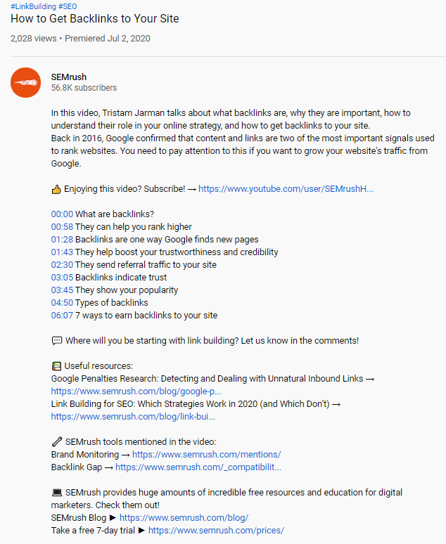YouTube description SEMrush
