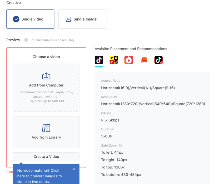 ad creative customization page