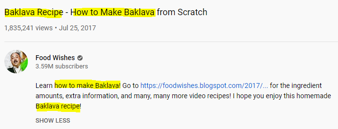 food wishes YouTube SEO
