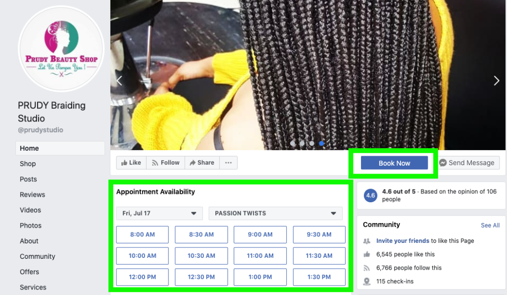 prudy fb page showing appointment feature