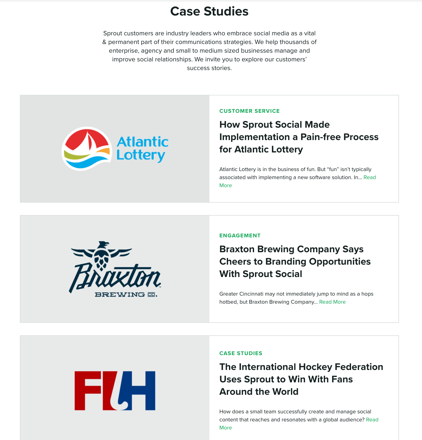 Screenshot of Sprout Social Case Studies page