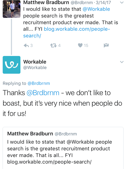 Workable review on Twitter