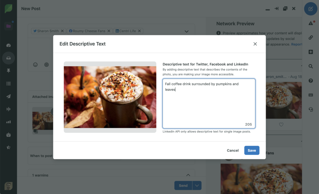 Add Descriptive Text Screenshot