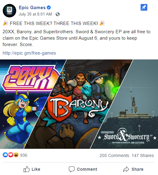 epic games facebook
