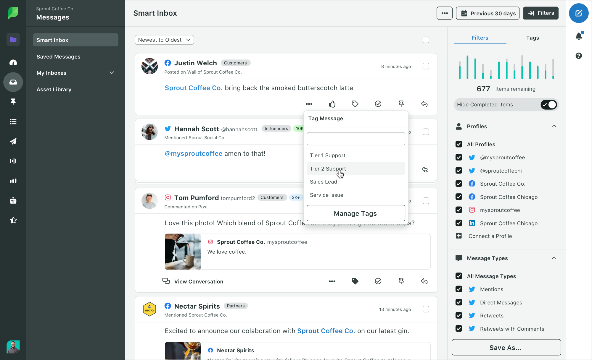 Sprout Social Smart Inbox Tag Support Monitoring Feature