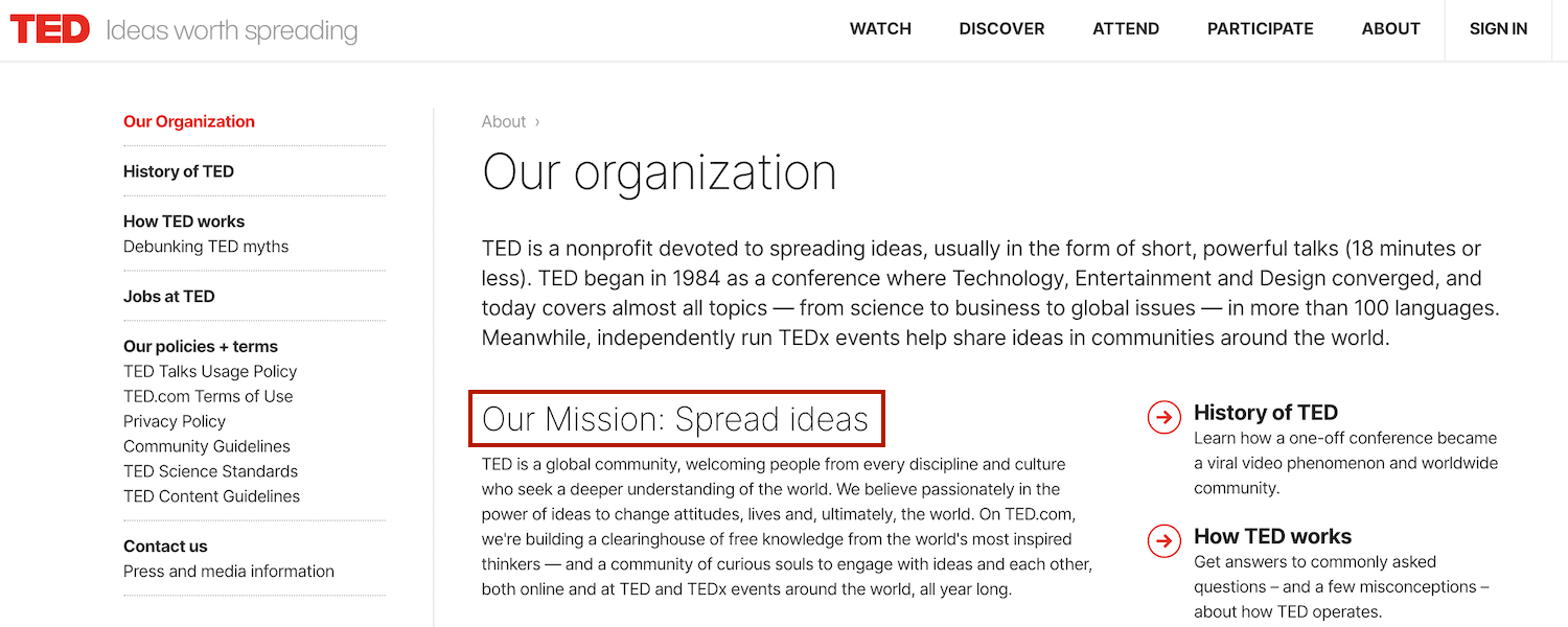 TED brand mission