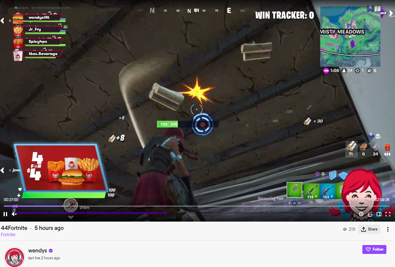 wendys fortnite on twitch