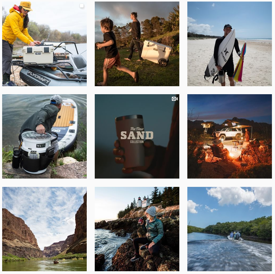 Yeti's creative trademark on Instagram is high-quality photos of landscapes