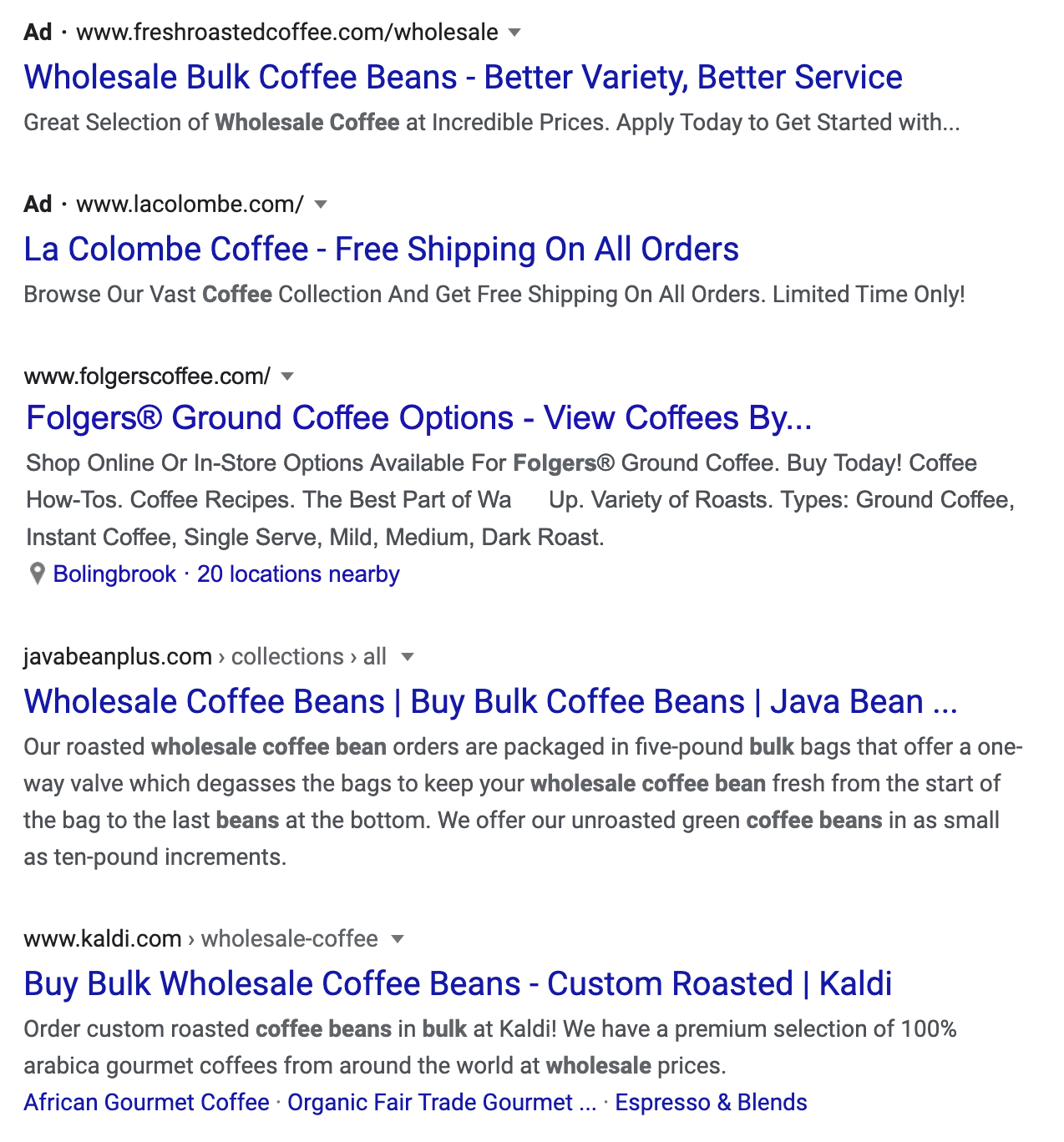 example of competitors for a coffee company