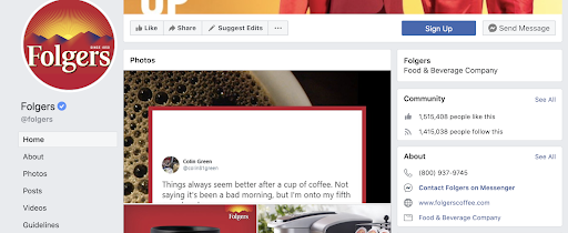 Folgers Facebook example