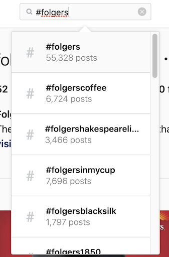 folgers hashtags on IG