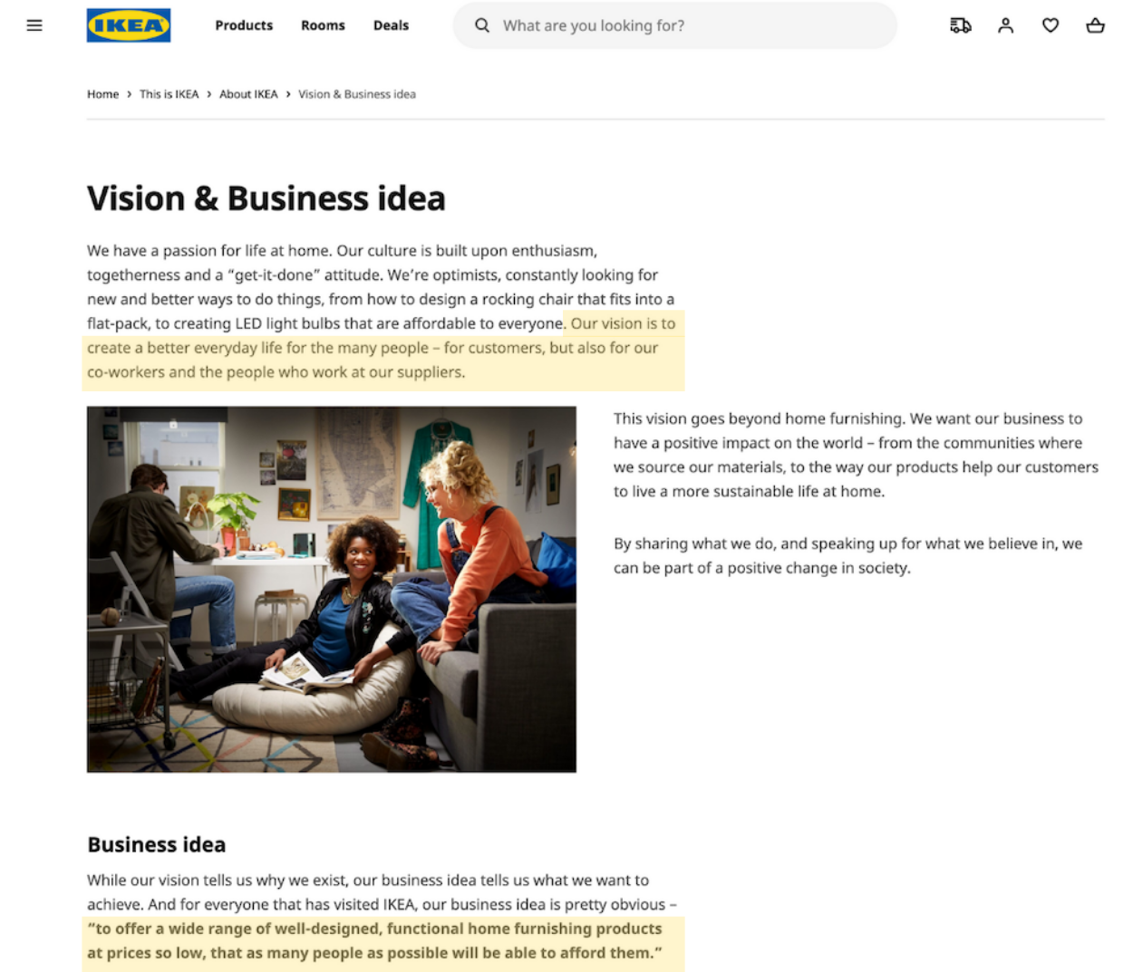 Ikea's brand mission and vision statements