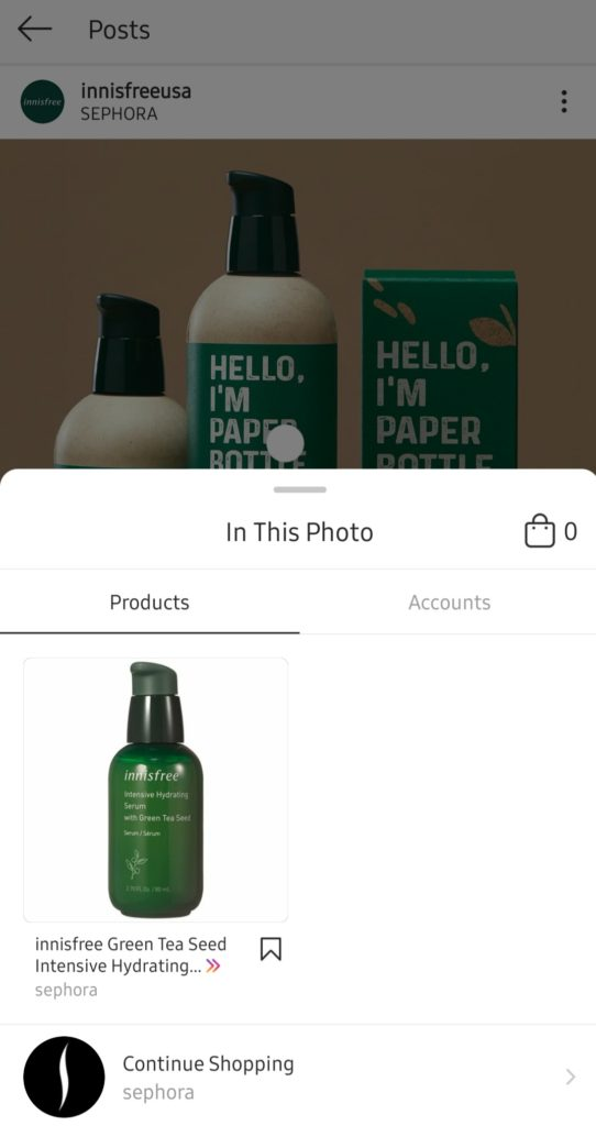 tagged product in Instagram