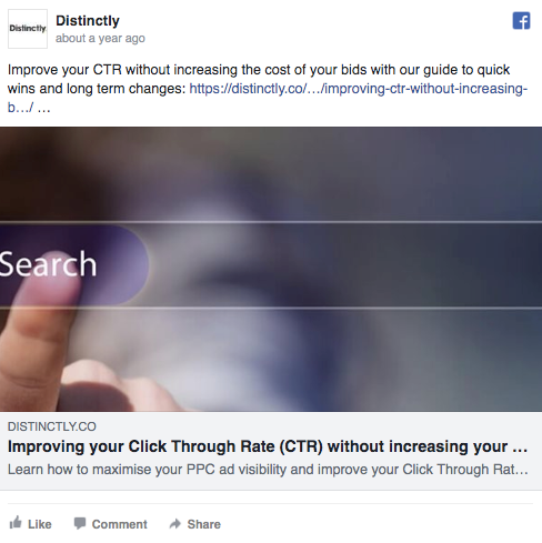 example of CTR used in a social post