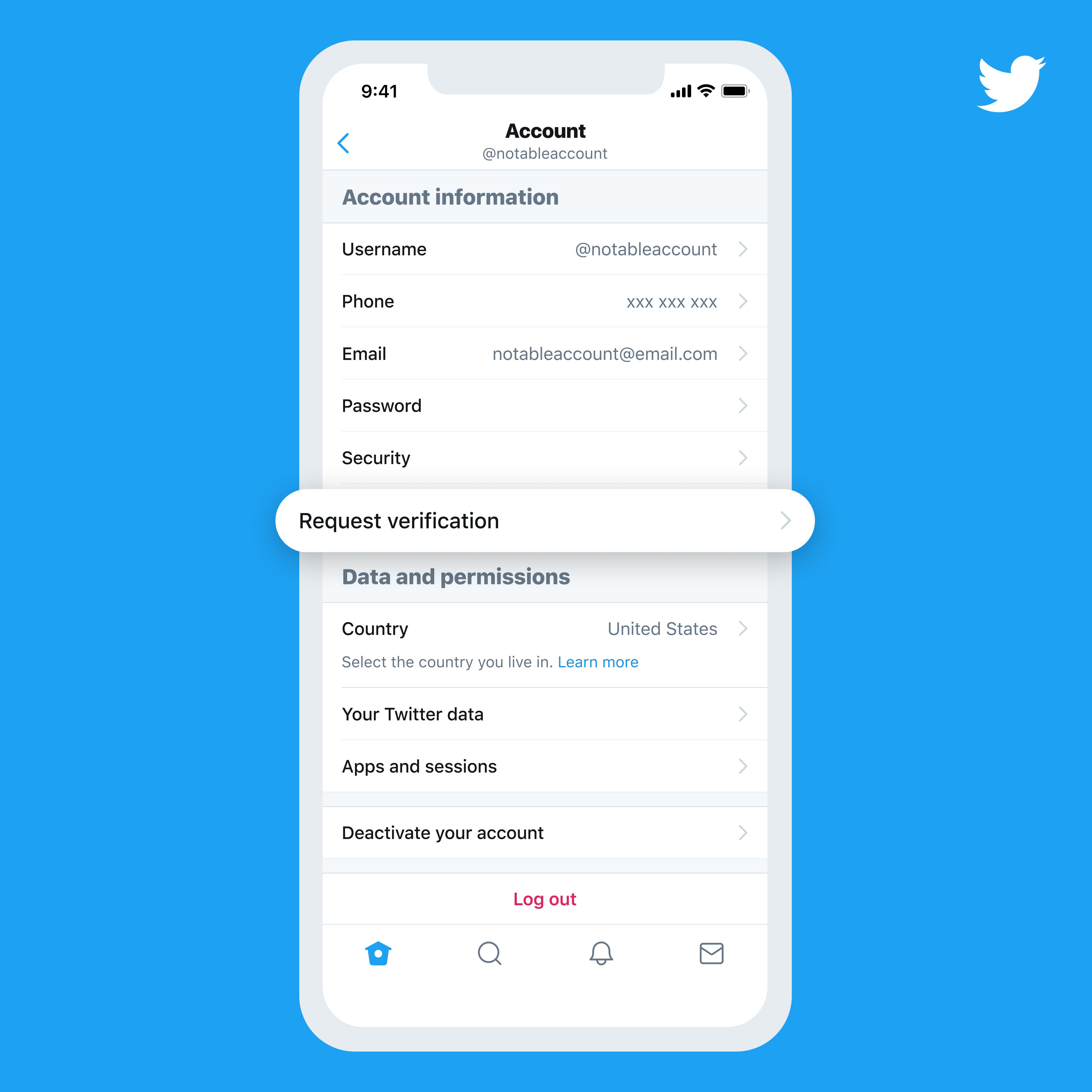 ejemplo de la opción de confirmación de Twitter en la vista móvil