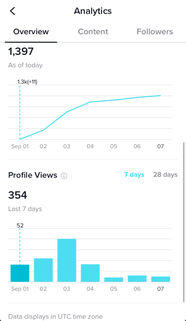 tiktok analytics - overview