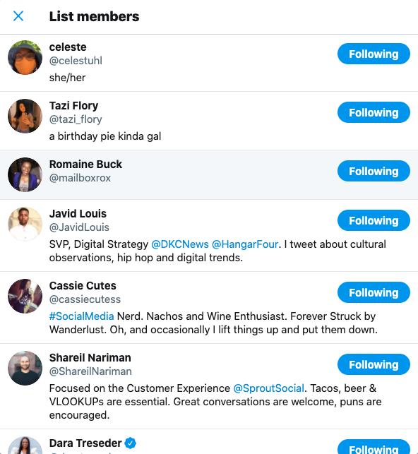 Screenshot of List members screen on Twitter featuring speakers from Sprout Summit