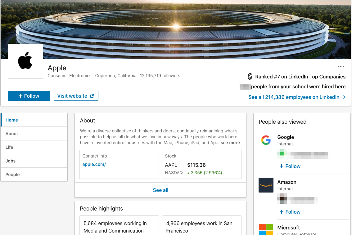 Apple's LinkedIn Company Profile Page
