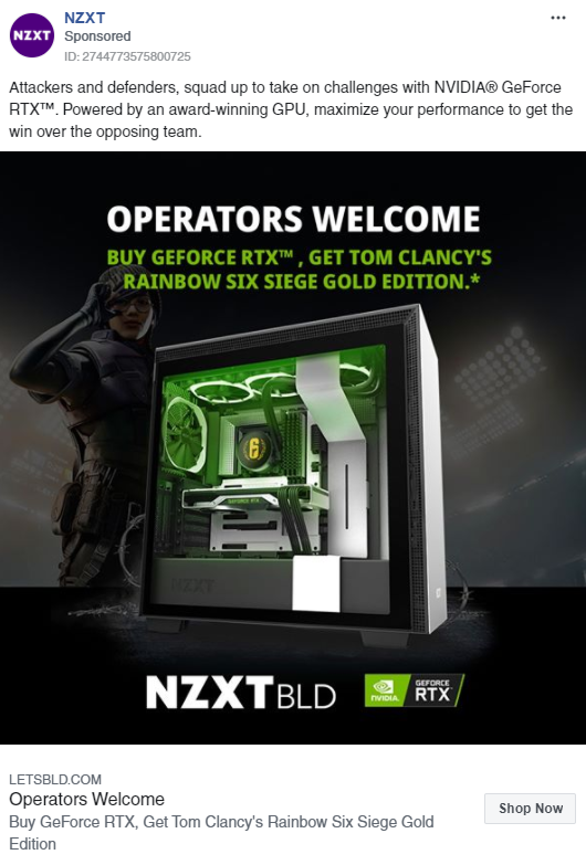 Example of social media advertising nzxt