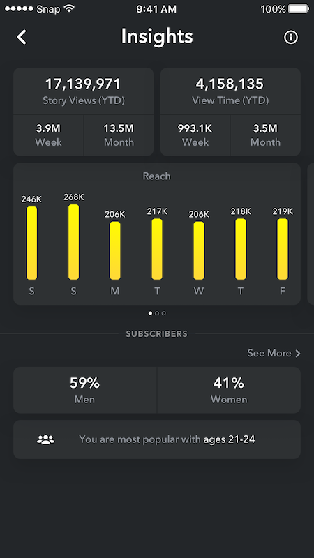 Screenshot of Snapchat Analytics Insights