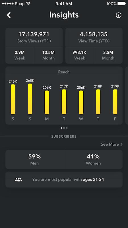 Screenshot of Snapchat Analytics Insights