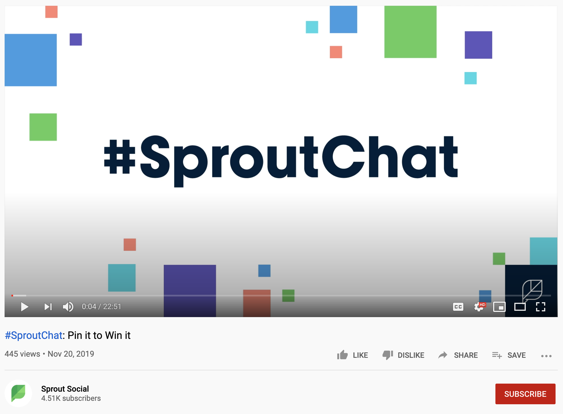 "A screenshot of a ""#SproutChat: Pin It to Win It"" YouTube video."