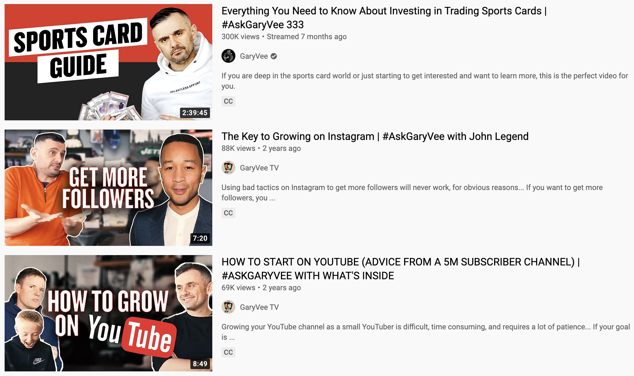YouTube search results showcasing #AskGaryVee videos with the hashtag in the title.