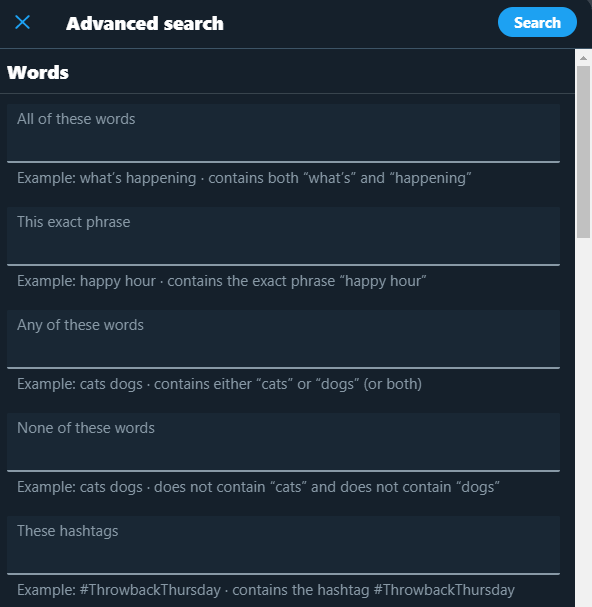 Twitter advanced search is a good way to find branded keywords on social media