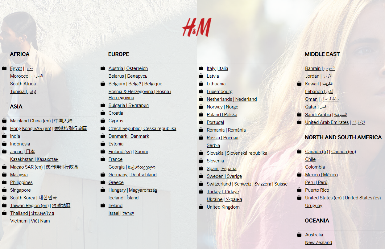 Screenshot of H&M international marketing to multiple territories