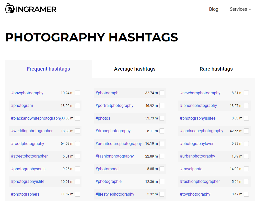 Ingramer lets you filter popular hashtags by category and niche