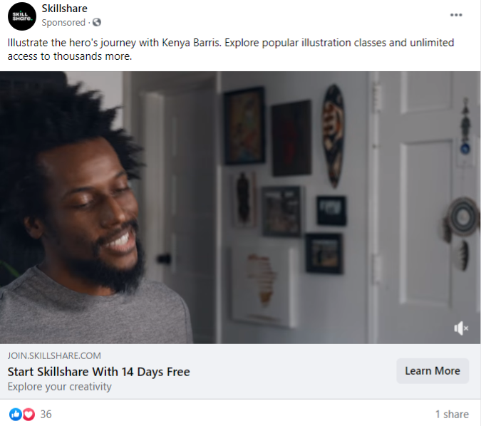 Skillshare's facebook ad offers 14 days of free trial