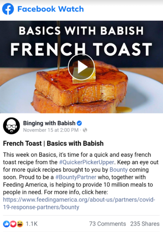 "Basic with Babish example of ""viral video"" or social media shares on Facebook"