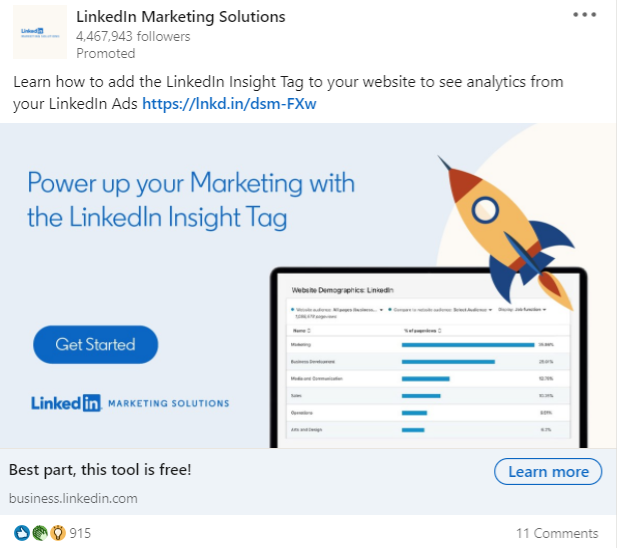 promoted linkedin marketing solutions post promoting free insight tag tool