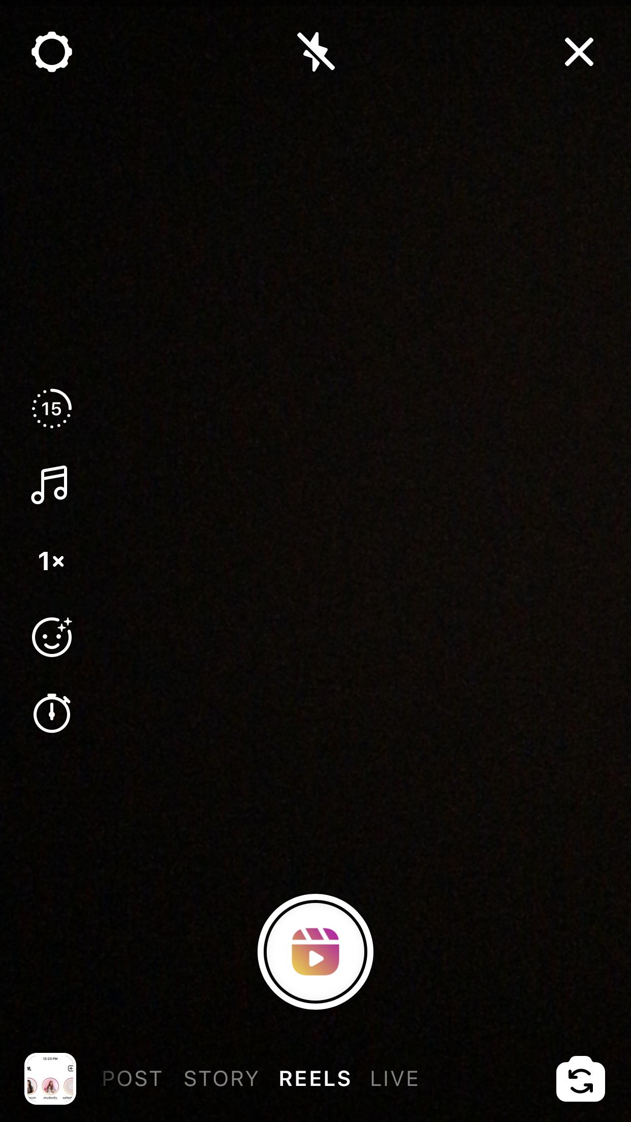 A screenshot of the Reels creation tab in Instagram.