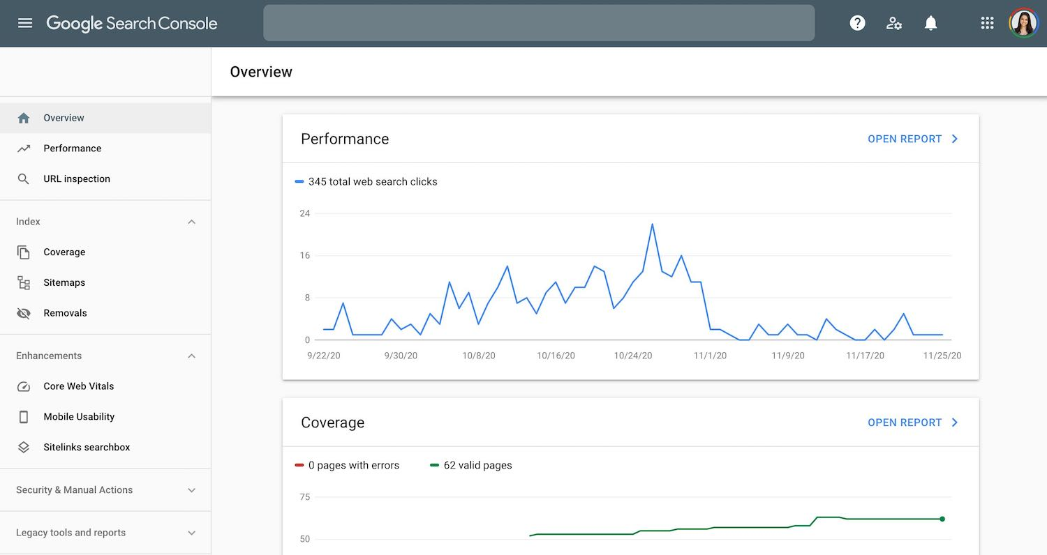 Screenshot of Google Console dashboard