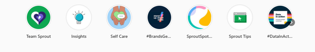 The cover images for Sprout's Instagram Highlights feature colors and graphics consistent with the brand's visual identity