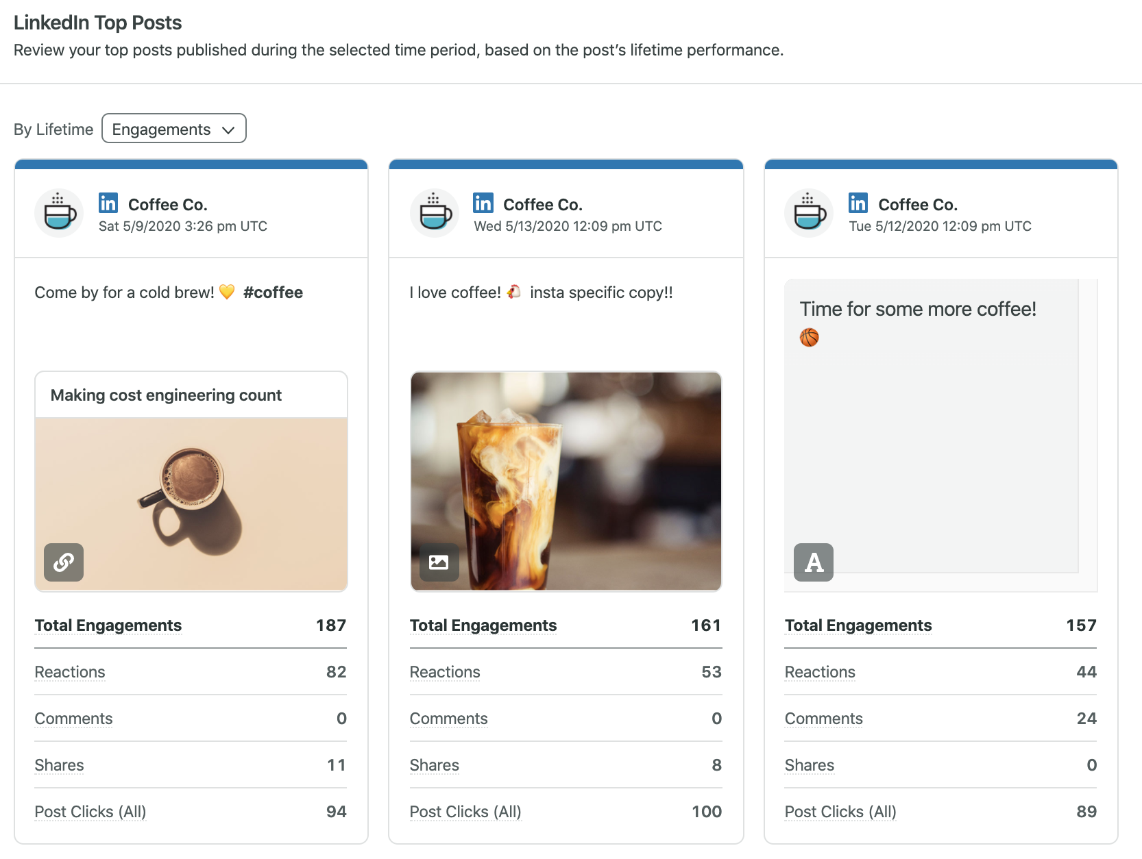 linkedin analytics in Sprout Social can help you identify your top-performing posts