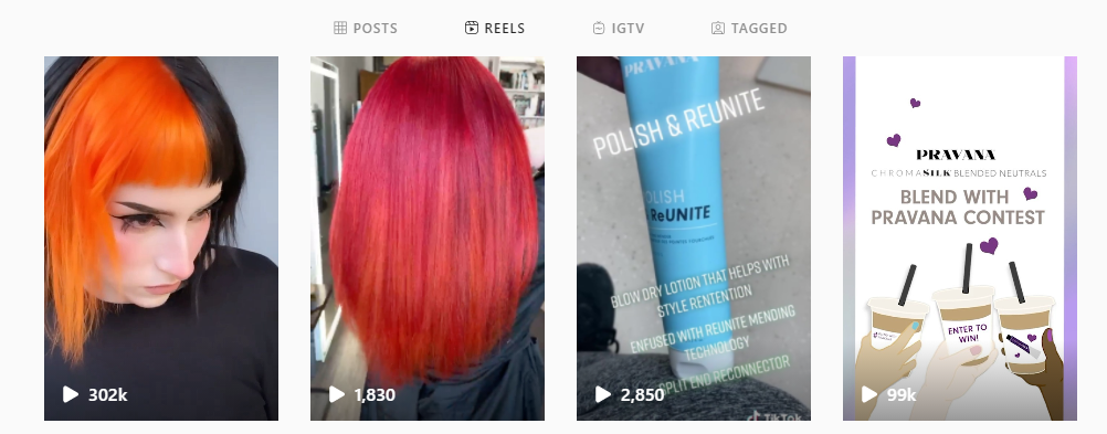 pravana use of IG reels