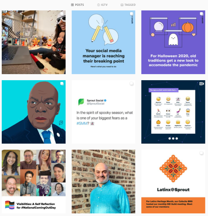The Sprout Instagram feed features a good mix of different content types, from images to carousels to video.