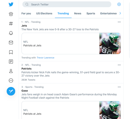 Twitter trending topics on desktop view
