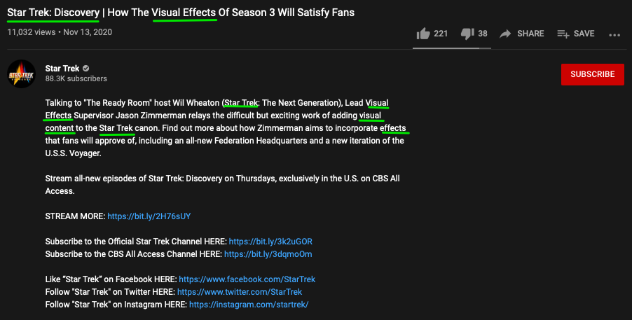 Star Trek's YouTube channel uses keywords in their video title and description.