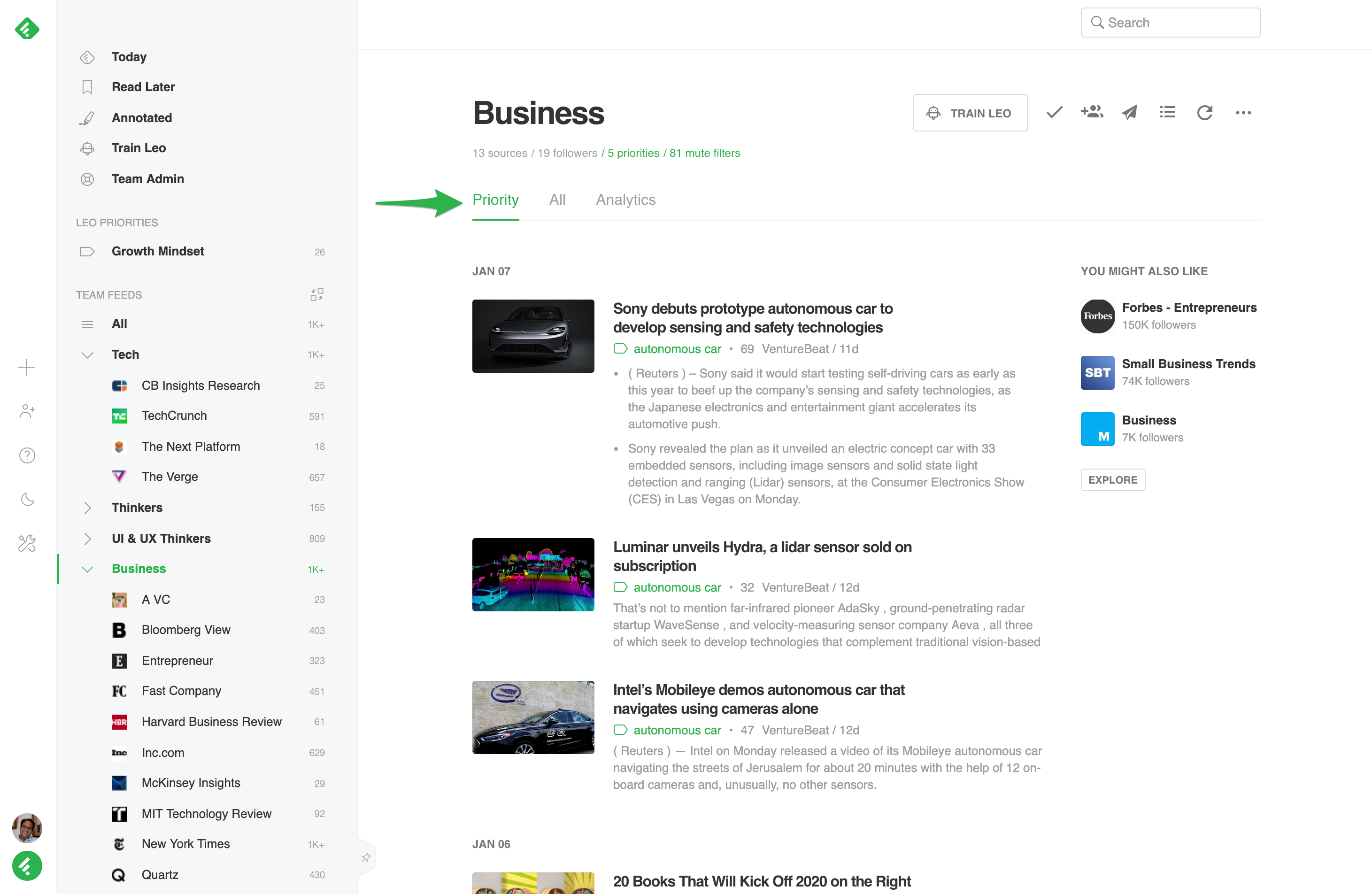 Screenshot of Feedly's feed of business articles