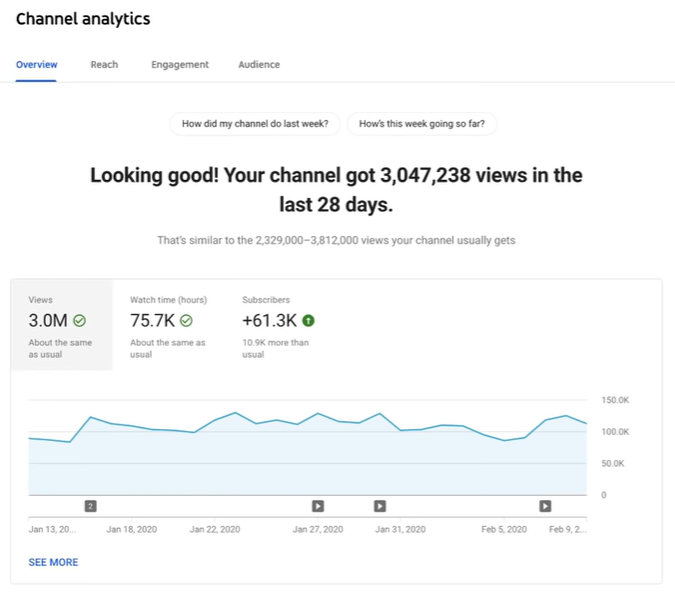 Screenshot of YouTube Channel General Report
